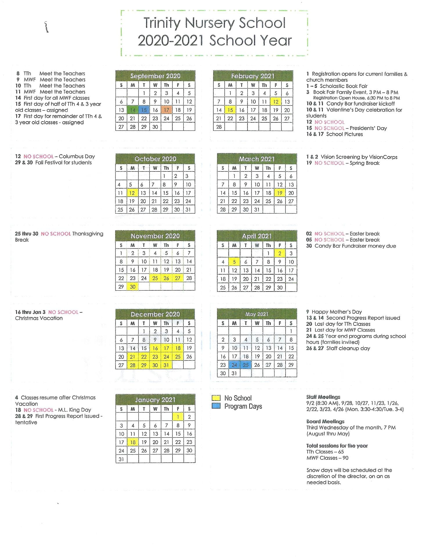 2022 Calendar Trinity Calendar 2021